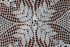 Crochet lace. Beautiful white crochet handmade lace Stock Photo