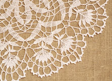 Lace on canvas Stock Photo