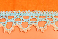 Crochet lace close up. Vintage knitting craftsmanship - crochet lace close up Stock Image