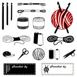 Crochet & Lace Making Icons. Collection of 20 tools and supplies for crochet, tatting, and lace making: crochet hooks, embroidery floss, embroidery thread. yarn Stock Photos