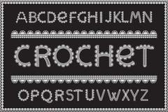 Crochet letters set. Handicraft alphabet, white yarn on black textured fabric, elegant technique of needlework design, thread pattern. Vector embroidery style Stock Photography