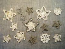 Crochet linen Christmas decoration Royalty Free Stock Photos