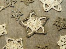 Crochet linen Christmas decorations Royalty Free Stock Image