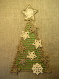 Crochet linen Christmas tree Stock Images