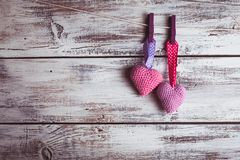 Crochet lovely hearts Stock Photos