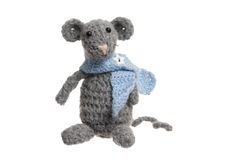 Crochet Mouse, Handmade, White Background. Royalty Free Stock Photos