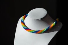Crochet necklace made from beads rainbow color Stock Photos