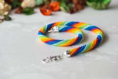 Crochet necklace made from seed beads rainbow colors Stock Image