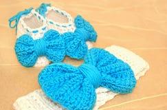 Crochet newborn girl - baby shower gift Stock Photo
