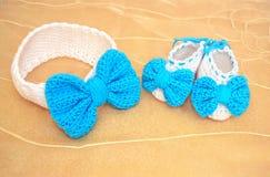 Crochet newborn girl - baby shower gift Stock Image