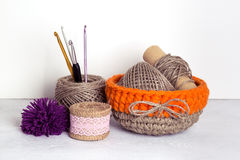 Crochet orange linen basket. Linen yarn and crochet orange linen basket Stock Photos