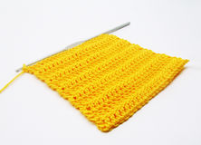 Crochet orange square Stock Photo