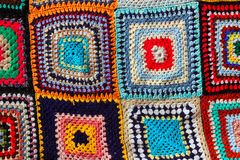 Crochet patchwork colorful pattern handcraft Stock Images