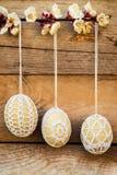 Crochet pattern Easter eggs Stock Photos