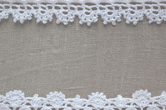Crochet pattern, homemade lace, nice wedding background. Knitted frame with handmade needlework. Easter, Christmas, Valentine`s da Stock Photography