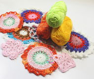 Crochet patterns of thread Stock Images