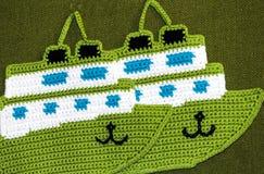 Crochet potholder, green ship Royalty Free Stock Photo