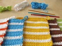 Crochet potholders Royalty Free Stock Images