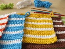 Crochet potholders Stock Photo
