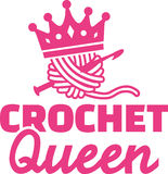 Crochet queen. With pink crown Royalty Free Stock Photo