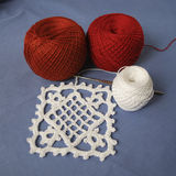 Crochet sample for tablecloth or napkin. Royalty Free Stock Photography