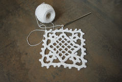 Crochet sample for tablecloth or napkin. Stock Image