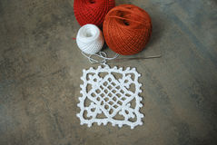 Crochet sample for tablecloth or napkin. Royalty Free Stock Image