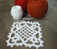 Crochet sample for tablecloth or napkin. Stock Photo
