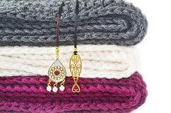 Crochet scarves and greek jewelry Royalty Free Stock Image