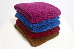 Crochet scarves in multiple colors Royalty Free Stock Image