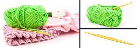 Crochet set. Set of crochet on white background Stock Photos
