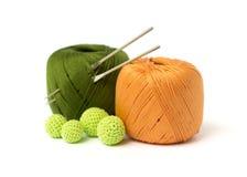 Crochet set. Yarn and hooks on white Royalty Free Stock Photo