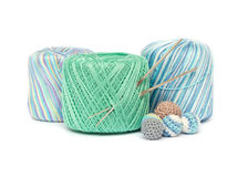 Crochet set. Yarn and hooks on white Stock Photography
