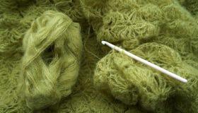 Crochet shawl and hook Royalty Free Stock Image
