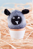 Crochet sheep on egg Stock Photos