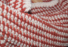 Crochet single stitch rows. Single stitch crochet in alternating rows of tan and rust yarn Royalty Free Stock Photo