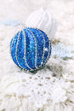 Crochet snowflake and two large Christmas balls Royalty Free Stock Photos