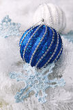 Crochet snowflake and two large Christmas balls Royalty Free Stock Image