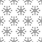 Crochet snowflakes seamless pattern. Endless background for your Christmas design. Black and white illustration Royalty Free Stock Photo