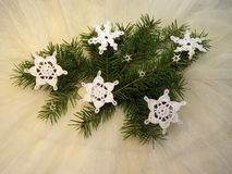 Crochet snowflakes Royalty Free Stock Images
