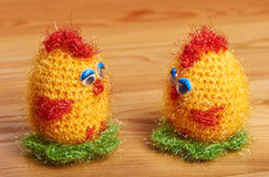 Crochet. Soft toy. Two chicken stock photo