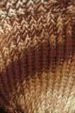 Crochet sticthing. Brown and cream colors crochet stitched hat project Stock Photos