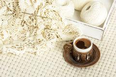 Crochet tablecloth, balls thread and  coffee Royalty Free Stock Photos