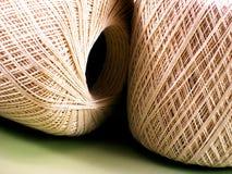 Crochet Thread. Two skeins of ecru bedspread-weight crochet thread Royalty Free Stock Photo