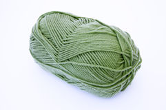Crochet Thread. Green crochet thread isolated on white Stock Photo