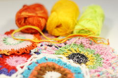 Crochet thread of different color Stock Image