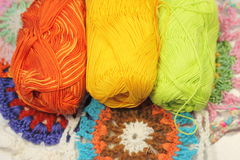 Crochet thread of different color Stock Images