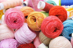 Crochet thread and sewing thread Royalty Free Stock Photo