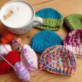 Crochet time with coffee Royalty Free Stock Photos