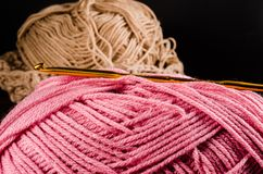 Crochet with two ball of yarn and hook Stock Photography